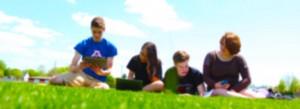 appleton eschool students doing classwork outside